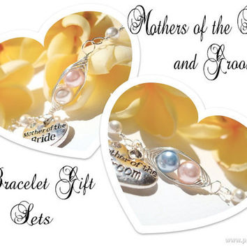 Mothers of the Bride & Groom  - gift set of 2 Personalized Bracelets - 2 peas in a pod with heart charm - wedding jewelry - Mom Jewelry