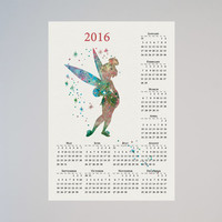 Tinker Bell Disney Calendar Personalized 2016 Peter Pan Watercolor Picture Print Save the date gift Christmas New Year Birthday present
