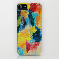 VANCOUVER RAIN - Stunning Rainbow Colorful Bold bright Rain Clouds Stormy Day Wow Abstract Painting iPhone Case by EbiEmporium | Society6