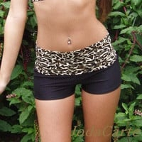 Black Yoga Shorts with Leopard Print Band