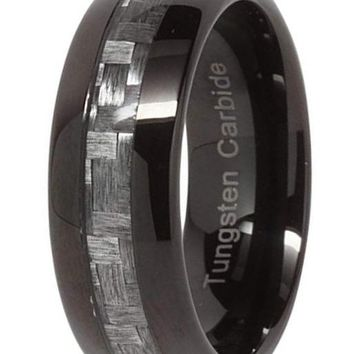 CERTIFIED 8mm Black Tungsten Ring Gray Carbon Fiber Inlay Mens Wedding Bands