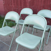 Set of 9 AMERICAN SEATING folding chairs/pastel green/Reception Chairs/Vintage Chair/Vintage Folding Chair/Vintage American Seating