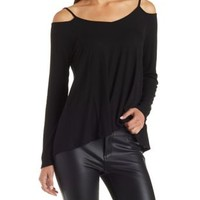 Ribbed Strappy Cold Shoulder Top by Charlotte Russe