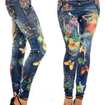 leggings Imitation cowboy printed leggings