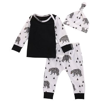 3pcs Baby Boys Clothing Set Toddler Infant Baby Boy Girls Cotton T-shirt Tops+Pants Outfits Clothes Set