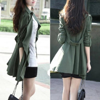 Fashion Women Long Sleeve Casual Jacket Trench Coat Cardigan Windbreaker M L XL = 1929705860