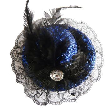 Atomic Blue and Black Glittered Mini Top Hat
