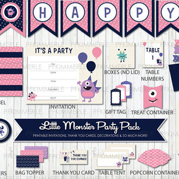 Little Monster Themed Birthday, Printable Party Pack,DIY, Banner, Invitation, Favors, Cupcake Toppers, Decorations, Roar, Pink, Kid Party