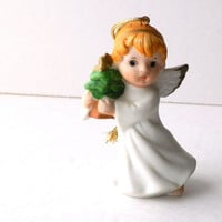 Porcelain Angel Ornament Holding a Christmas Tree