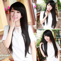 Stylish New Womens Lady Long Straight Flowing Hair Full Wigs Cosplay Party Black