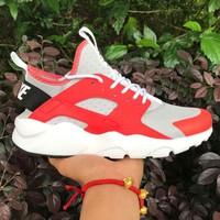 Best Online Sale Nike Air Huarache 4 Rainbow Ultra Breathe Men Women Hurache Grey/Red Running Sport Casual Shoes Sneakers - 113