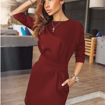Mini Dress Fall Three Quarter Sleeve Dresses