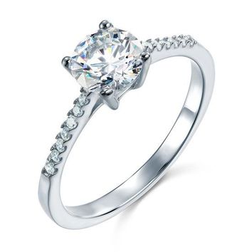 Created Diamond Sterling 925 Silver Engagement Ring