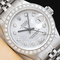 LADIES ROLEX DIAMOND DATEJUST 18K WHITE GOLD STAINLESS STEEL SILVER DIAL WATCH