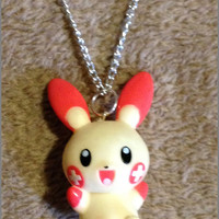 Vintage Plusle Bandai Pokemon Lightweight Hollow Necklace or Keychain Handmade Chain Raver Charm Cute