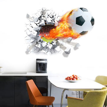 Football Soccer ball Broken wall stickers TV background living room bedroom wall decals boys room decoration gift