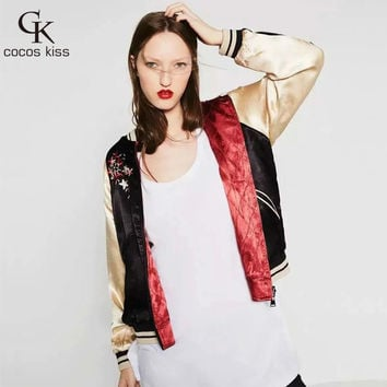 New arrival Fashion style Double sided Flower embroidered black and red veste femme manche longue bomber Satin jacket women coat