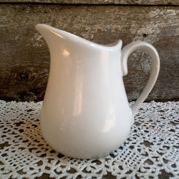 "IRONSTONE CREAMER,  Syrup Pitcher, Creamy Off White, 5"" tall x 5"" wide, Farmhouse, Earthenware, Serving Pitcher, Creamer, Cordon Blue"