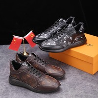 LV Louis Vuitton Classical Skool men Fashion Embroidery Sneakers Sport Shoes High Quality Custom Louis Vuitton Huaraches MALE Breathable Running Shoes Flats Boots