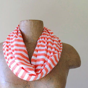 CLASSIC striped skinny cotton jersey scarf in coral by EcoShag