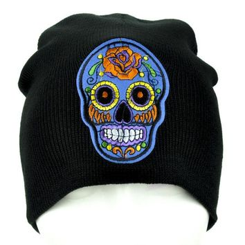 ac spbest Blue Sugar Skull Beanie Day of the Dead Clothing Knit Cap