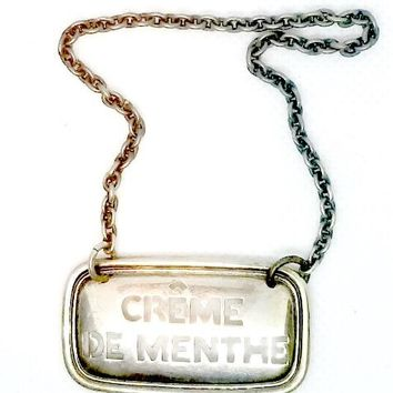 Sterling Silver Decanter Tag | Creme de Menthe
