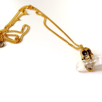 Quartz Crystal Skull Necklace, Skull Pendant
