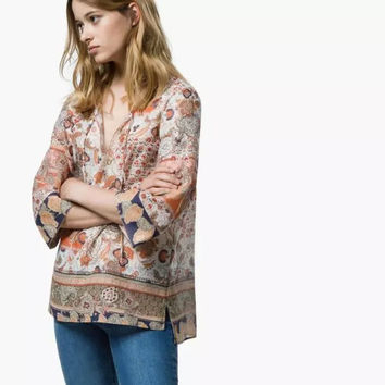 Floral Print Drawstring Sleeve Loose Shirt