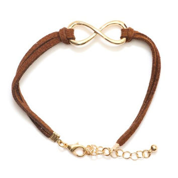 Infinity Loop Symbol Karma Bracelet BA07 Antique Gold Tone Brown Faux Leather Band Karma Fashion Jewelry