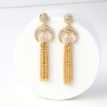 Astral Perfection Gold Rhinestone Star Earrings
