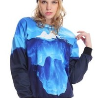 Romwe Women's Tip of Iceberg Pattern Long Sleeves Sweatshirt-Blue-M
