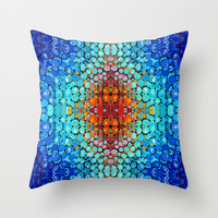 Inner Vision - Colorful Spiritual Abstract Art By Sharon Cummings Throw Pillow by Sharon Cummings