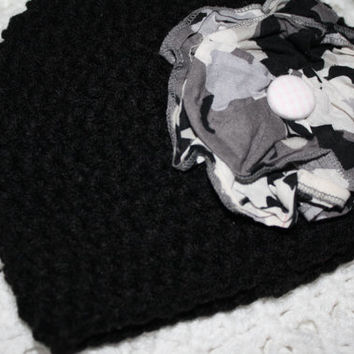 6-12 MO Flash Sale Black and Camo Flower Girls 6-12 Months Baby Shower Gift, Infant, Perfect Photo Prop