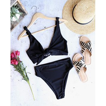 reverse - stila front knot seamless high waist bikini set - black