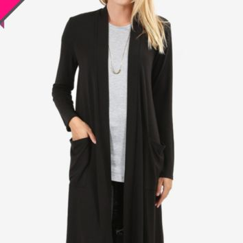 Essential Knee Length Slouchy Pocket Cardigan w/Long Sleeves in Black or Hunter Green