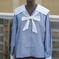 90's Sailor Shirt - nautical blue and white bow shirt - japanese sailor shirt - RED // GREEN Brand