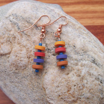 Beaded Polymer Clay Earrings, Pierced Earrings, light weight