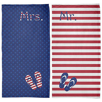 4th of July Stars & Stripes Mrs and Mr Honeymoon All Over Beach Towel Set