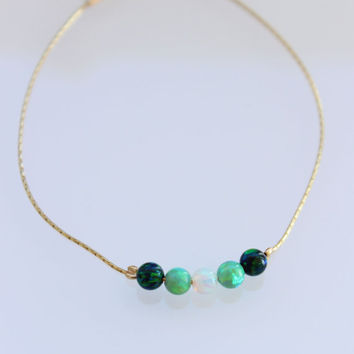 4MM Round bead opal bracelet, blue green opal ball, 14K gold filled chain, 4MM opal round beads, bright summer colors jewelry