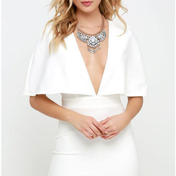 White V-Neck Cape Mini Dress