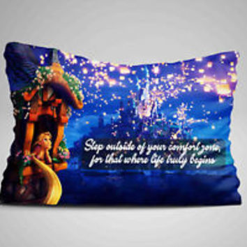 "Disney Princess Tangled Quotes Zippered Pillow Case 16""x 24"" - Two sides cover"