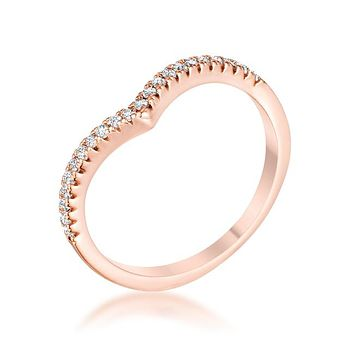 Rose Gold Chevron - Women's Brass Rose Gold Plated Clear CZ Trendy Ring