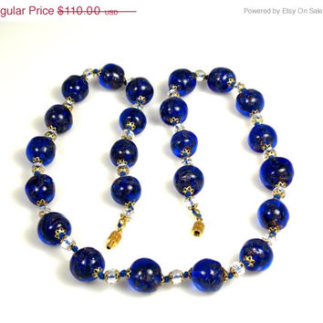 Sale Vintage Murano Hand Blown Glass Necklace Dark Blue Clear 1960s Chunky