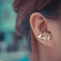 Three Birds Sterling Silver Ear Climbers