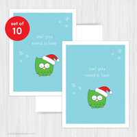 Christmas Card Set Holiday Cards Funny Cute Humor Handmade Greeting Owl You Need Is Love Pun Happy Holidays Xmas Fun Card Boxed Set of 10