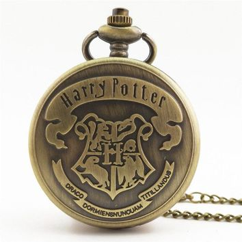 New Retro Bronze Multi-Style Pocket Watch Hogwarts School Badge Harry Potter Quartz Men's And Women's Watch For Children's Gift