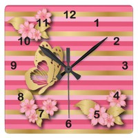 Pink & Gold Stripes with Flowers & Butterfly Square Wall Clock