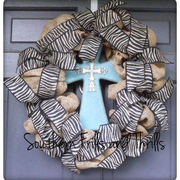 Burlap and Cross Wreath