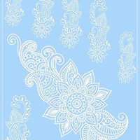 Henna Body Tattoos White Lace Floral Design Hand Arm Cover Up Temporary Tattoo