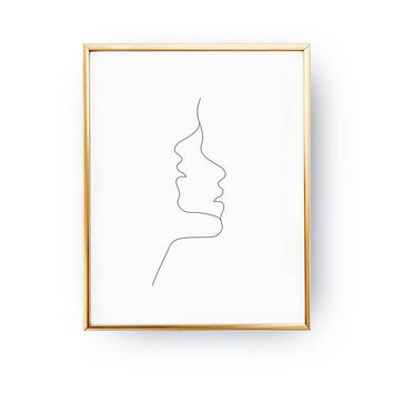 Two Faces Print, Simple Fashion, Woman Illustration, Woman Art, Black And White, Sketch Art, Woman Face Print, Minimal Art, Drawn Face Art